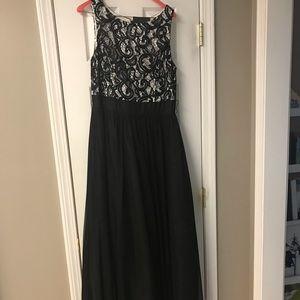 Black/Cream evening gown with sash.